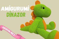 Amigurumi dinazor tarifi ve yapılışı - Örgüm Crochet Dinosaur, Crochet Disney, Booties Crochet, Mario, Dinosaur Stuffed Animal, Crochet Patterns, Weaving, Knitting, Toys