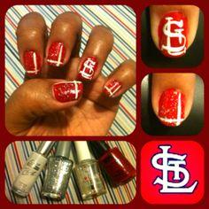 My favorite baseball team inspired nails...Go Cardinals!!! ^_^