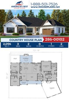 Country House Plan - Get to know this popular Country home design, Plan details sq., 3 bedrooms, 2 b - One Level House Plans, Open Floor House Plans, Farmhouse Floor Plans, Best House Plans, Dream House Plans, Dream Houses, Open Floor Plan Homes, Small Cottage House Plans, Lake House Plans