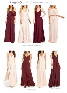 How to Do Mismatched Burgundy Red and Blush Pink Bridesmaid Dresses Blush Pink Bridesmaid Dresses, Red Bridesmaids, Wedding Outfits, Wedding Attire, Wedding Dresses, Sunflower Weddings, Pink Weddings, Occasion Dresses, Sign