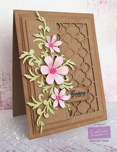 Card made using Crafter's Companion Sara Signature Floral Delight - Thinking of…handmade card from Verity Cards: Thinking of You . layers of kraft including die cut trellis plate . pretty die cut posies in pastel pink and green .Oh my goodness the Pretty Cards, Cute Cards, Diy Cards, Your Cards, Cricut Cards, Stampin Up Cards, Crafters Companion Cards, Tattered Lace Cards, Karten Diy