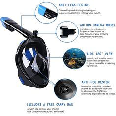 See More with Larger Viewing Area, for Free Breathe Prevents Gag Reflex with Tubeless Design Gag Reflex, Full Face Snorkel Mask, Snorkeling, Gopro, Cover Design, Underwater, Diving, Outdoor Power Equipment, Breathe