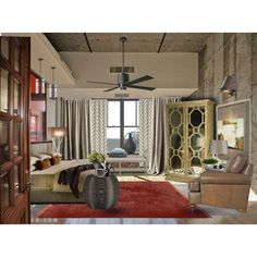 Decor Bdroom~tan and poppy accent Couples Hotels, Urban Decor, Curtains, Interior Design, Poppy, Polyvore, Room, Interiors, Decorating