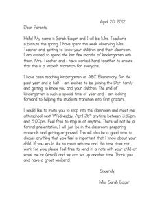 Introduction letter to parents from a new teacher teacher a special sparkle back to school welcome letters thecheapjerseys Gallery