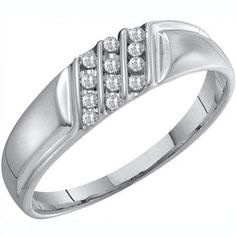 Share and get $20 off your order of $100 or more. 0.12 Carat (ctw) 10k White Gold Round White Diamond Channel Set Men's Wedding Anniversary Band - Dazzling Rock #https://www.pinterest.com/dazzlingrock/