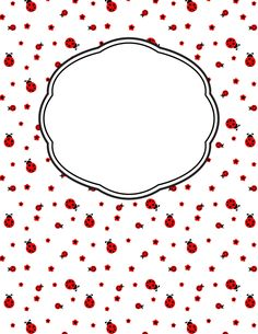 Free printable ladybug binder cover template. Download the cover in JPG or PDF format at http://bindercovers.net/download/ladybug-binder-cover/