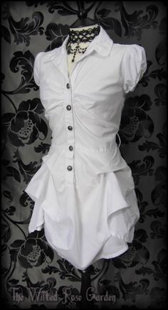 Romantic Victorian White Hitched Bustle Puffball Dress 10 Steampunk Vintage Goth | THE WILTED ROSE GARDEN