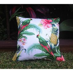 Outdoor Cushions Tropical Outdoor Cushions Outdoor Pillows Tropical... ($27) ❤ liked on Polyvore featuring home, outdoors, decorative pillows, green, home & living, home décor, outdoor pet bed and outdoor beanbag
