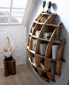 Spherical wooden bookshelf... like in a dream!
