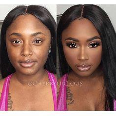 black women's makeup hair - Makeup Tutorial Lipstick Beauty Make-up, Beauty Hacks, Hair Beauty, Beauty Tips, Make Up Looks, Makeup Before And After, Makeup Looks Tutorial, Dark Skin Makeup, Makeup On Fleek