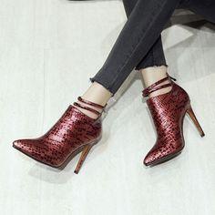 Material:PU|Heel Height:10cm|Pattern:Plain  #boots #winter