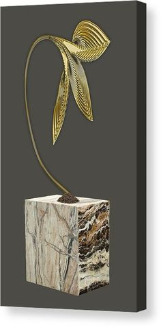 Leaf Canvas Print featuring the mixed media Golden Leaf by Marvin Blaine