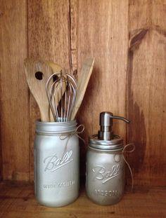 Brushed Nickel Mason Jar Utensil Crock  Painted by TagsnTwine