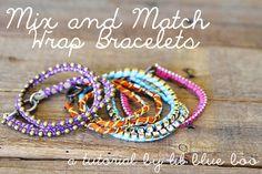 DIY Mix and Wrapped Bracelets Tutorial via lilblueboo.com