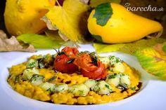 Tekvicové krupoto s mozzarellou a paradajkami