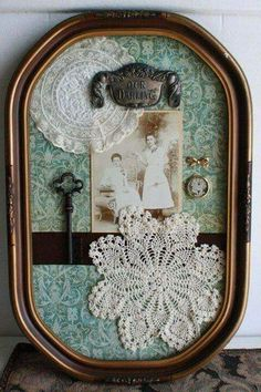 oak antique shadow box bubble frame - Could do this with my shadow boxes - doilies and pictures of my grandparents, etc Shadow Box Memory, Doily Art, Decoration Shabby, Doilies Crafts, Crochet Doilies, Arts And Crafts, Diy Crafts, Handmade Crafts, Handmade Rugs