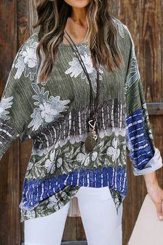 Vintage Abstract Graphic Gradient Print Paneled Batwing T-shirt - Diorer Trendy Tops, Casual Tops, Casual Shirts, Thing 1, Short Tops, Blouse Online, Blouse Styles, Types Of Sleeves