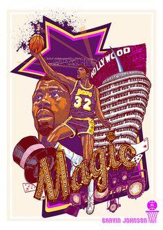 Magic Johnson by Karl Yvan Tagle Basketball Posters, Basketball Funny, Basketball Art, Basketball Legends, Showtime Lakers, Fantasy Basketball, Nba Pictures, Nba Wallpapers, Magic Johnson