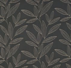 Grey leaf drapery fabric - Orbit Pewter by Charles Parsons Interiors #grey #fabric #leaf #vine #drapery #curtain #charlespasronsinteriors