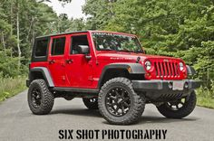 """09 Flame red Rubicon3 inch Teraflex35"""" Toyo Open Country M/T20"""" XD AddictsDIY marker lights into turn signals."""