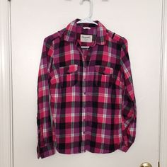 Aeropostale Plaid Button-Down Aeropostale Pink & Black Plaid Flannel Button-Down; Also listed on Mercari 🛍 Aeropostale Tops Button Down Shirts