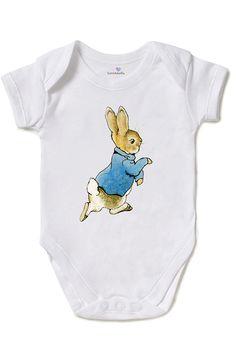 Peter rabbit baby shower, One Piece Baby Bodysuit , Beatrix Potter, White 100% Cotton, Direct Garment Printing