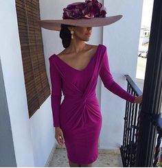 Wherever she is going, she will be the center of attention! Party Fashion, Fashion Outfits, Derby Outfits, Wedding Hats, Kentucky Derby Outfit, Fuchsia, Mode Style, The Dress, Designer Dresses