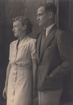 Prince Ludwig of Hesse and his fiance Margaret Geddes. It was to their wedding in 1937 that Louis' brother, the Grand Duke of Hesse, and sister-in-law (nee Cecilie, Princess of Greece and Denmark, sister of the Duke of Edinburgh) were travelling when their plane crashed at Ostend, killing all aboard. Louis became Grand Duke of Hesse, and his wedding was moved forward and very quiet.