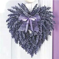 Lavender Heart Wreath w/lavender Ribbon~ Beautiful Country Home Decor! Lavender Heart Wreath w/lav Lavender Crafts, Lavender Wreath, Lavander, Purple Wreath, Lavender Ideas, Lavender Blue, Lavender Fields, Valentine Decorations, Flower Decorations