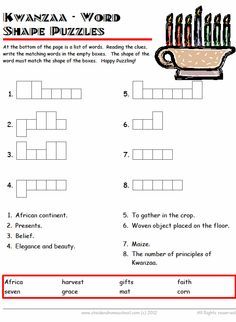 Kwanzaa Worksheet - cryptic puzzle | Kwanzaa printables, books and ...