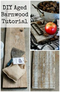 DIY aged barnwood. Learn how to age new wood to look old in minutes with this tutorial.                                                                                                                                                                                 More