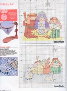 Point charts Cross: Cross stitch chart Christmas nativity scene, birth of Jesus