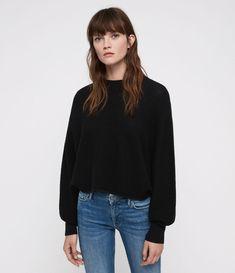 1478728d24e265 AllSaints Womens Gene Crew Neck Sweater (black) Black Image
