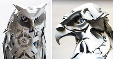 Ptolemy Elrington knows exactly what to do with all of those wheel hubcaps you see littering the side of the highway. He's spent the last 12 years recycling them into beautiful and elegant animal sculptures!