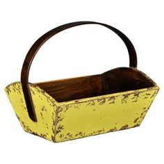 Trough-style wood bucket in butter with a curved top handle.   Product: BucketConstruction Material: WoodColor: Butter   Features:  Curved top handle  Dimensions: 15 H x 23 W x 14 D