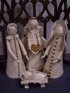 Donna Barton Ceramic Lantern, Ceramic Decor, Ceramic Clay, Christmas Nativity, Christmas Angels, Christmas Art, Clay Angel, Pottery Angels, Ceramic Angels