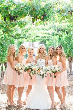 Simple & Functional Bridesmaid Dress Ideas for 2017 Spring Weddings-2 Blush Pink Bridesmaid Dresses, Beautiful Bridesmaid Dresses, Blue Bridesmaids, Wedding Dresses, Pink Dresses, Pleated Dresses, Girls Dresses, Bridesmaid Bouquets, Before Wedding