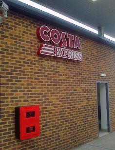 COSTA sign graphics Costa, Neon Signs, Graphics, Graphic Design