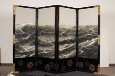 "Morning Sea"" by Hashio Kiyoshi, early 20th C. Folding screen embroidered with 250 shades of blue silk. (arttattler.com)"