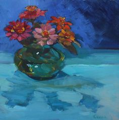 "'Me and My Shadow' - 6""x6"" original floral still life for sale by Maryann Lucas."
