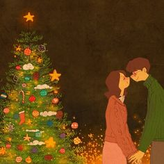Merry Christmas Happy Holidays Art Print by Puuung - X-Small Christmas Love Couple, Merry Christmas Happy Holidays, Christmas Kiss, Cute Couple Drawings, Cute Couple Art, Couple Illustration, Christmas Illustration, Puuung Love Is, Cute Love Stories