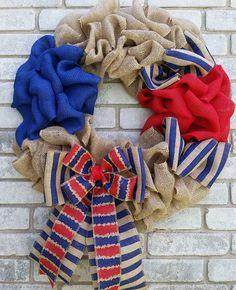 Patriotic Texas Fourth of july wreath Burlap rustic wreath home office bday gift by SouthernHeartWreaths on Etsy
