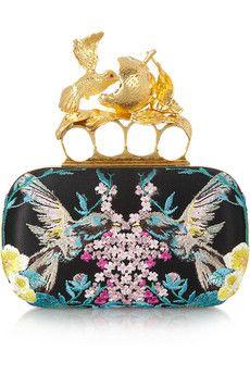 Alexander McQueen | Knuckle embroidered satin box clutch | NET-A-PORTER.COM