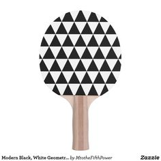 Modern Black, White Geometric Triangles Ping-Pong Paddle by M to the Fifth Power Ping Pong Table Tennis, Ping Pong Paddles, Triangles, Black White, Modern, Design, Home Decor, Homemade Home Decor, Trendy Tree