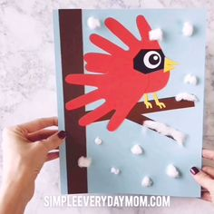 Cardinal Handprint Craft For Kids Make this cute and easy winter craft with the kids during break. It's a fun handprint art project children of all ages with have fun making! Daycare Crafts, Preschool Crafts, Kids Crafts, Craft Activities, Winter Art Projects, Winter Crafts For Kids, Craft Projects, Winter Crafts For Preschoolers, Cute Art Projects