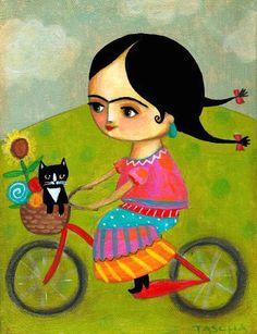 ORIGINAL acrylic painting FRIDA Kahlo tuxedo cat BICYCLE ride folk art by tascha 7x9. $110.00, via Etsy.