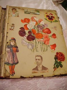 Victorian scrapbook containing die cuts, advertisements, etc...