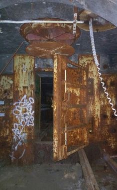 Nuclear Missile Silo, Deer Trail, Colorado -Each section of the complex had thick metal blast doors that weighed 3 tons apiece. The hinges of some were so rusty that they could barely be moved.