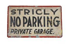 """c. 1920's original hand-painted american folk art single-sided galvanized tin """"no parking"""" sign with all-over crazed finish"""