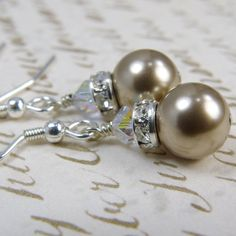 Champagne Earrings, Bronze Swarovski Pearl, Drop, Taupe, Sterling Silver, Bridal Party Jewelry, Bridesmaid Handmade Wedding